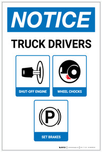 Notice: Truck Drivers Shut-Off Engine Set Brakes Wheel Chocks with Icons Portrait - Label