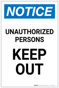 Notice: Unauthorized Persons Keep Out Portrait - Label