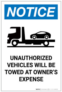 Notice: Unauthorized Vehicles Will Be Towed with Icon Portrait - Label