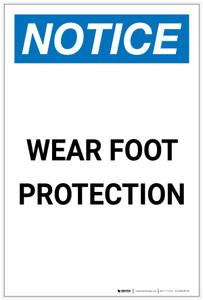 Notice: Wear Foot Protection Portrait - Label