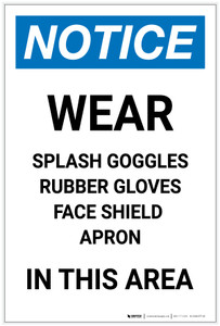 Notice: Wear Goggles/Gloves/Face Shield/Apron in This Area Portrait - Label