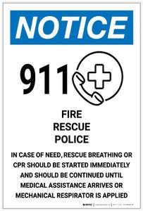 Notice: 911 Guideline - Fire/Rescue/Police - Label