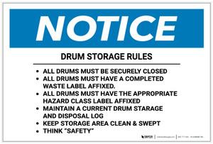 Notice: Drum Storage Rules - Label