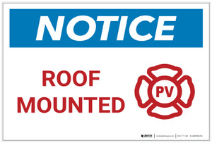 Notice: Roof Mounted - Fire Safety - Label