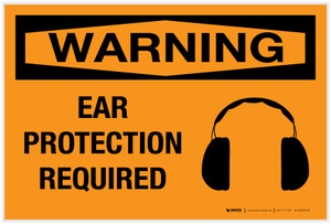 Warning: Ear Protection Required with Graphic - Label