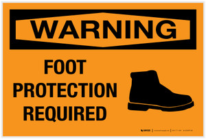 Warning: Foot Protection Required with Graphic - Label