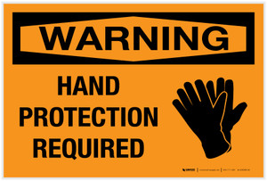 Warning: Hand Protection Required with Graphic - Label