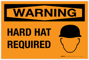 Warning: Hard Hat Required with Graphic - Label