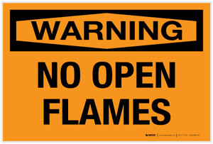 Warning: No Open Flames - Label