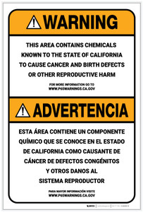 Warning: Prop 65 Bilingual (Spanish) - Label