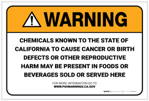 Warning: Prop 65 Food and Beverage - Label
