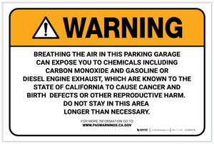 Warning: Prop 65 Parking Garage - Label