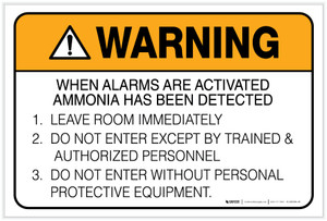 Warning: Ammonia Alarm Procedure - Label