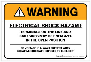 Warning: Electrical Shock Hazard/DC Voltage - Label