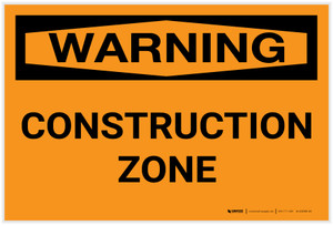 Warning: Construction Zone - Label