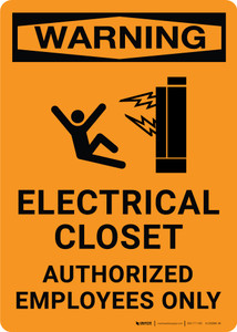 Warning: Electrical Closet/Authorized Personnel Only Portrait with Graphic - Label