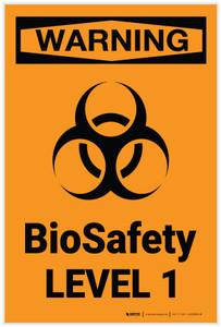 Warning: BioSafety Level 1 - Label