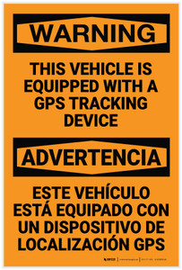 Warning: Vehicle Equipped With GPS Tracking Device - Label