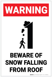 Warning: Beware of Snow Falling From Roof With Graphic (White) - Label
