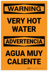 Warning: Very Hot Water Bilingual Spanish - Label