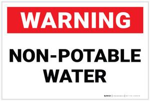 Warning: Non Potable Water (White) - Label