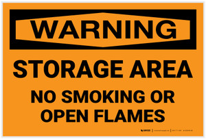 Warning: Storage Area No Smoking Open Flame - Label