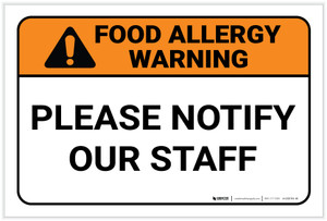 Warning: Food Allergy Please Notify Our Staff - Label