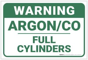 Warning: Argon Co Full Cylinders - Label