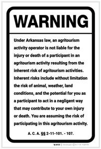 Warning: Arkansas Agritourism Liability AR - Label