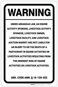 Warning: Arkansas Equine Liability AR - Label