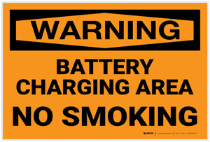 Warning: Battery Charging No Smoking - Label