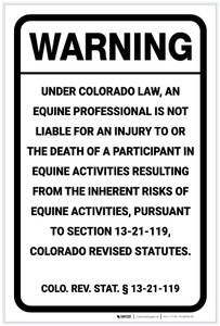 Warning: Colorado Equine Liability CO - Label