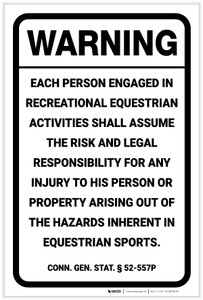 Warning: Connecticut Equine Liability CT - Label