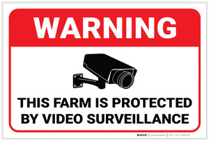 Warning: Farm Is Protected By Video Surveillance - Label