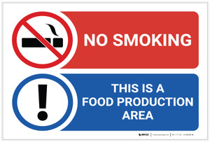 Warning: No smoking Food Production Area - Label
