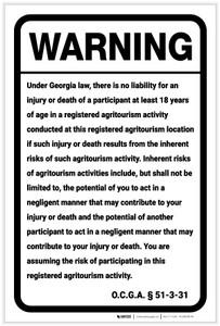 Warning: Georgia Agritourism Liability GA - Label