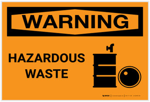 Warning: Hazardous Waste With Graphic - Label