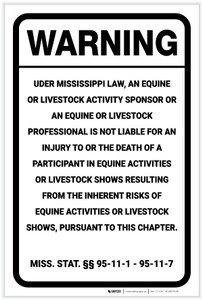 Warning: Mississippi Equine Liability MS - Label