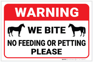 Warning: No Feeding Or Petting Horse - Label