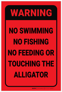 Warning: No Feeding Or Touching The Alligator - Label