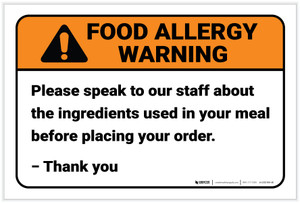 Warning: Speak To Staff About Ingredients Allergy - Label