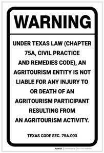Warning: Texas Law Agritourism Liability TX - Label