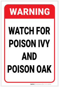 Warning: Watch For Poison Ivy And Poison Oak - Label