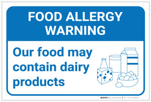 Warning: Food Allergy Warning Food May Contain Dairy with Icon Landscape - Label