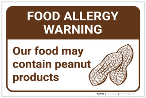Warning: Food Allergy Warning Food May Contain Peanuts with Icon Landscape - Label