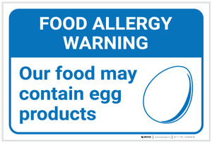 Warning: Food Allergy Warning Food May Contain Egg with Icon Landscape - Label