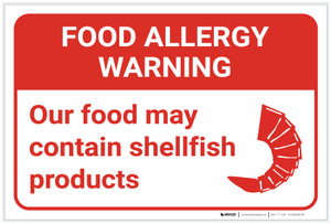 Warning: Food Allergy Warning Food May Contain Shellfish with Icon Landscape - Label