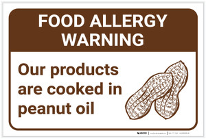 Warning: Food Allergy Warning Products Cooked in Peanut Oil with Icon Landscape - Label