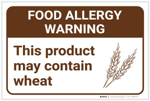 Warning: Food Allergy Warning Product May Contain Wheat with Icon Landscape - Label