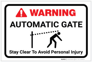 Warning: Automatic Gate Stay Clear with Icon Landscape - Label